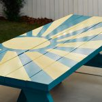 Diy Sunburst Painted Picnic Table Home Depot