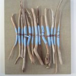 Driftwood Burlap Root Painting Found Frame Reduced