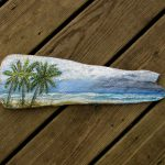 Driftwood Painting Palm Trees Beach