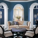 Excellent Informal Brown Blue Living Room Wall Painted Also Traditional Sofa