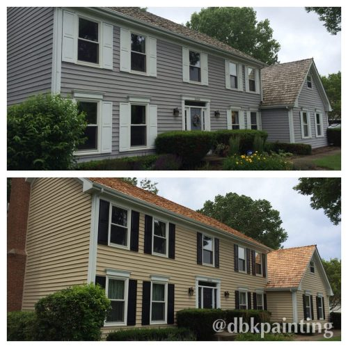 Exterior Cedar Siding Paint Before After Using Benjamin Moore Arborcoat Solid Color