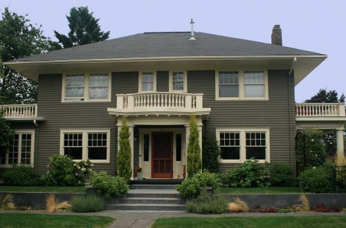 Exterior House Paint Schemes Dark Green Wall Cream Windows Frame Home