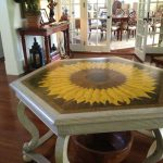 Faux Painted Wood Inlay Table Top Limed Oak Surround