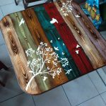 Faux Wood Painted Table Top Whimsical Bohemian Furniture