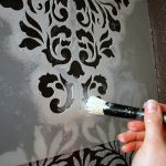 Finally Stenciled Wall Gorgeous Pattern Our Half Bathroom Create