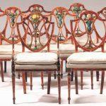 Fine Set Eight George Iii Satinwood Painted Dining Chairs Sale