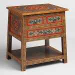 Floral Painted Wood Drawer Accent Table World
