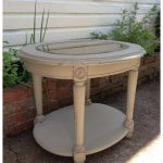 French Linen Chalk Paint End Table Round Wood Painted