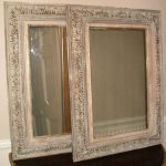French Painted Carved Wood Mirror Antique