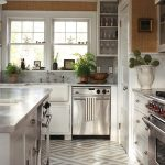 Geometric Painted Floor Contemporary Kitchen New England