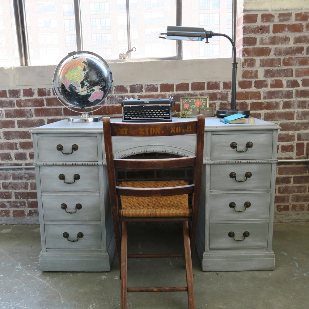 Georgeous Gray Desk Using White Wax Furniture Simpler Design Hub All