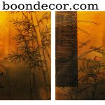 Gold Leaf Painting Hand Painted Lacquered Wood Cranes Dragonflies Set Boon