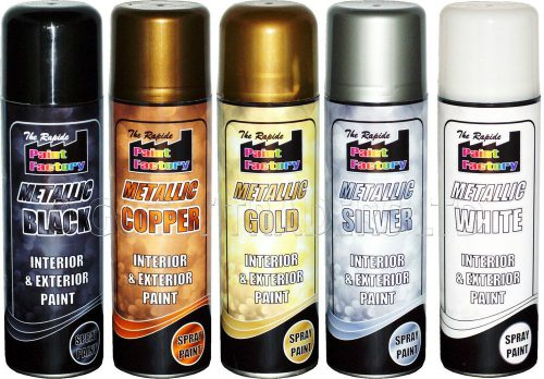 Gold Silver Black White Metallic Spray Paint Decorative Interior Exterior