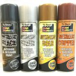 Gold Silver Copper Black Metallic Spray Paint Aerosol Interior Exterior