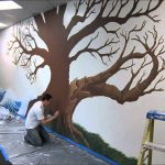 Good Looking Super Large Dark Brown Oak Tree Mural Painting Ideas Home