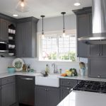 Gray Painted Kitchen Cabinets Dark Cabinet Paint
