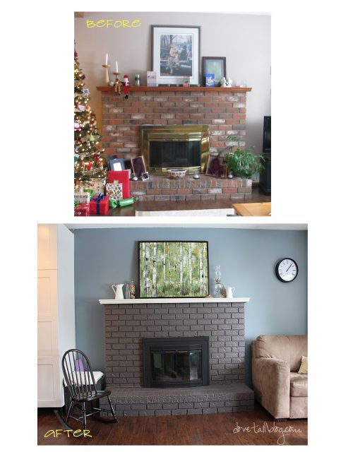 Great Reno Painting Red Brick Fireplace Simple
