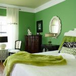 Green Bedroom Ideas Colors Moods White Bed Round Mirror