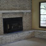 Grey Painted Brick Fireplace Design