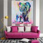 Hand Painted Art Oil Painting Elephant Canvas Modern Abstract Wall Decor
