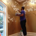 Hand Painted Cherry Blossoms Metallic Gold Wall