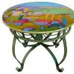 Hand Painted Dining Table Top Provence Cottage