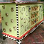 Hand Painted Funky Whimsical Dresser Large Studded Sides Stripes Diamonds