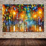 Hand Painted Landscape Oil Painting Lovers Street Abstract Canvas Art Home Decor
