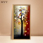 Hand Painted Modern Abstract Money Tree Canvas Wall Art Oil Painting Home