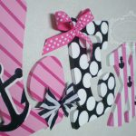 Hand Painted Personalized Wooden Letters Pink Navy