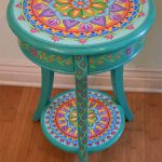 Hand Painted Round Accent Table Furniture Boho Style Solid Wood