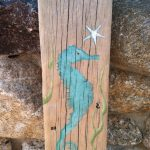 Hand Painted Rustic Driftwood Seahorse Sign Coastal