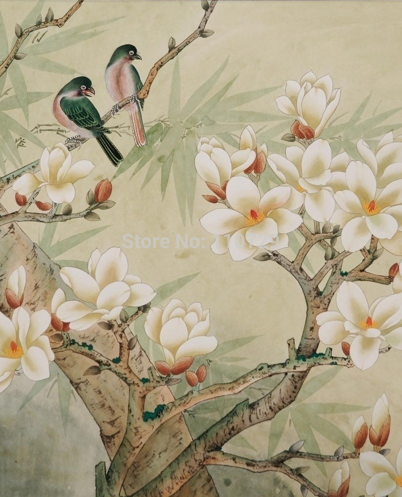 Hand Painted Silk Painting Magnolia Flower Wallcover Sticker Many