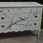 Hand Painted Songbird Dresser Tree Bluebird