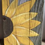 Hand Painted Sunflower Old Barn Wood Fence Board Wall