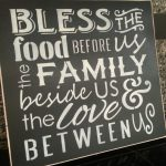 Hand Painted Wood Sign Bless Food Before