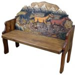 Horses Hand Painted Mexican Solid Wood Bench Rustic Furniture Home Decor