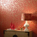 Interior Amazing Red Room Decoration Using Metallic Wall Paint Along