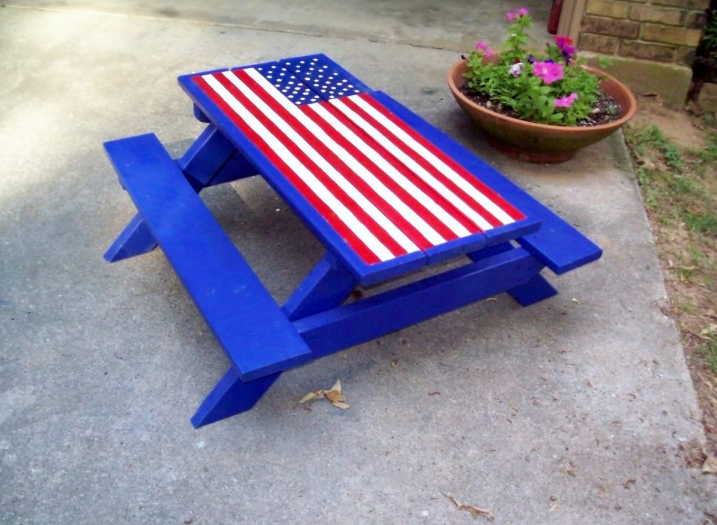 Items Similar Hand Painted Picnic Table American Flag