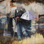 Joshua Flint Assemblages Found Imagery Gestural Marks Paint Jackson Art