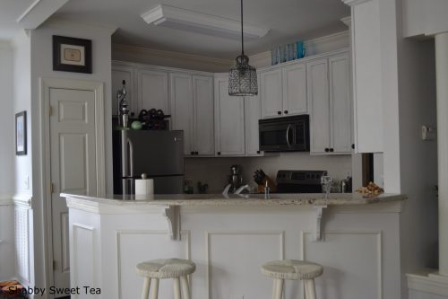 Kitchen Dark Wood Flooring Beadboard Backsplash Idea Feat Two Tone Chalk