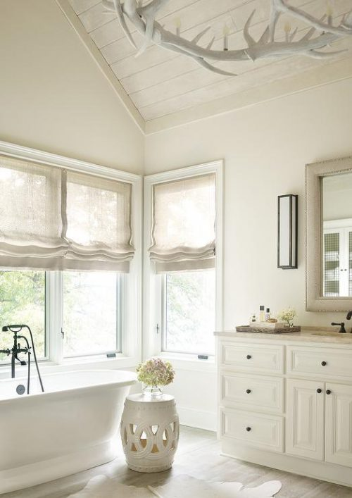 Limewash Plank Ceiling Transitional Bathroom Benjamin Moore China