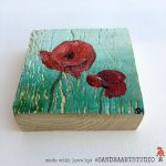Little Painting Wood Poppies Acrylic Paint Square Piece Can