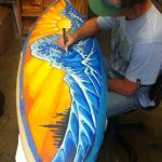 Live Surfboard Painting Mini Art Exhibit Foam Party June Drew