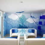 Marvelous Room Wall Designs Scenary Painting Plus Simple Downlight Plain Ceiling
