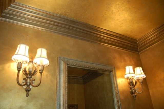 Metallic Gold Plaster Troweled Walls Gilded Ceiling Glazed