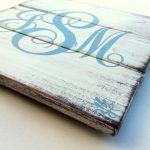 Monogram Hand Painted Distressed Wood Plank Blue Letters Antique White