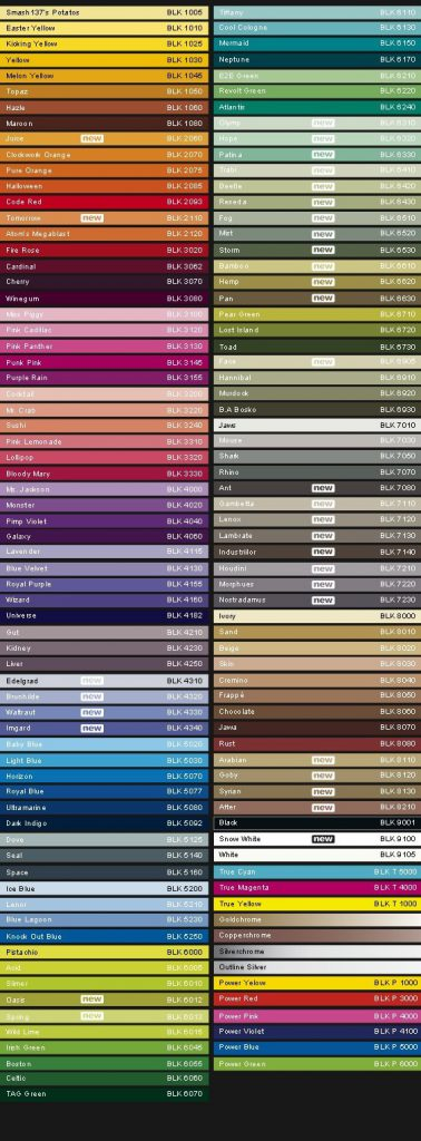 Montana Cans Color Chart Black Line Charts Paint Yard