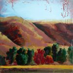 Mountain Hill Landscape Original Oil Painting Wood