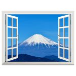 New Removable Wall Sticker Mural Open Window Fuji Snowscape Inch